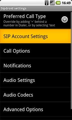 Sipdroid Android VoIP app SIP Client Setup Configuration